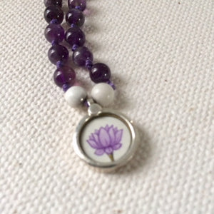 Lotus Flower, Amethyst, Howlite, Clear Quartz, Darkness into Light Necklace