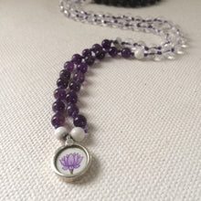 Lotus Flower Mala Necklace, Amethyst, Howlite, Clear Quartz, Darkness into Light Necklace