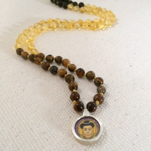 Buddha Talisman, Tiger's eye, Citrine stone, Mala necklace, Jewellery