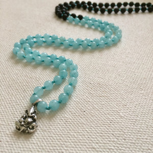 Ganesha Mala Necklace with Aquamarine