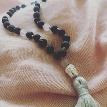 Love Me Mala Necklace with Rose Quartz and Lava stones