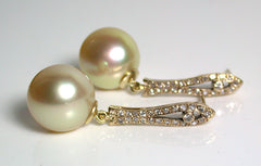 golden south sea pearls diamond earrings