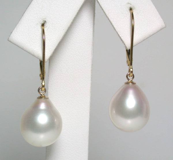 10.5x13mm white pearl & 18 carat gold earrings
