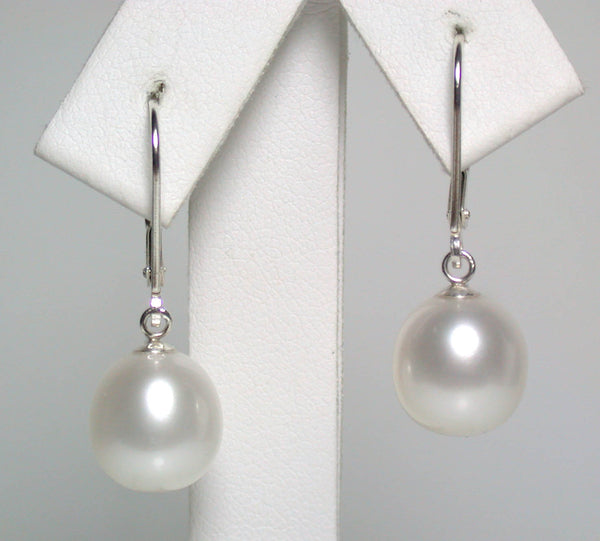 9.5x11mm white pearl & sterling silver earrings