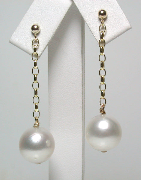 11.5mm South Sea pearl & 9 carat gold earrings