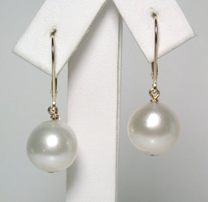 11.5mm South Sea pearl & 9ct gold leverback earrings