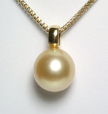 13x13.7mm golden South Sea pearl & 18 carat gold
