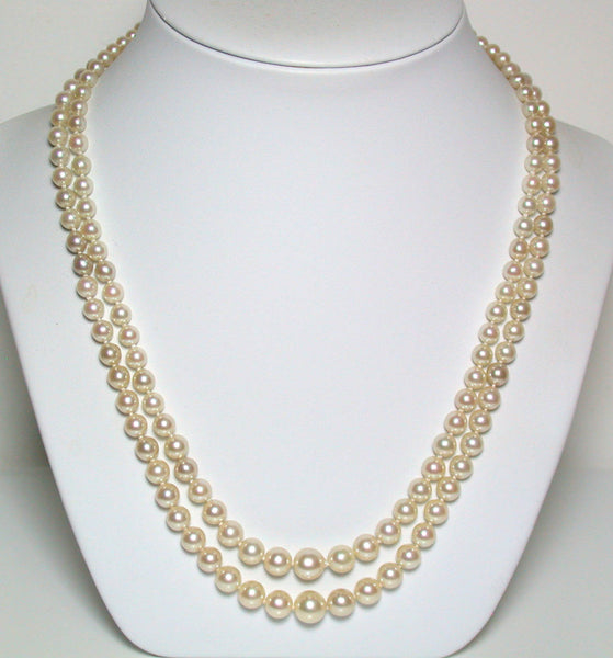 "20"" Vintage 2.5-8mm pale golden Akoya pearl necklace & white gold diamond clasp"