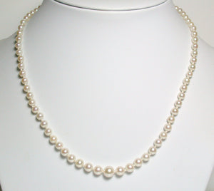 Vintage 3.4-7.2mm Akoya pearl & 9ct gold necklace
