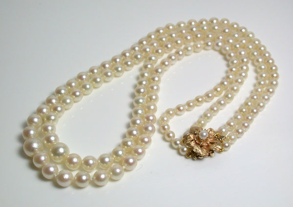 Vintage AAA 4-8mm Akoya saltwater pearl & 14ct gold double strand necklace