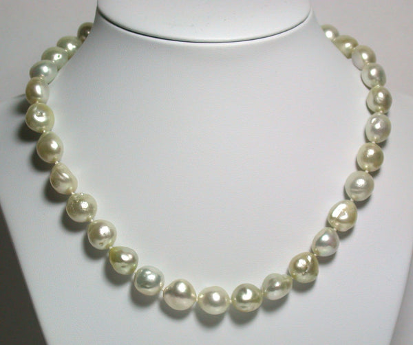 Champagne 10-12mm South Sea pearl necklace & vermeil clasp