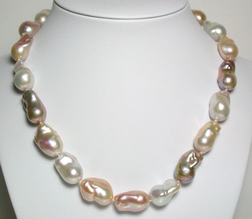 Natural 18-21mm fireball pearl & sterling silver necklace