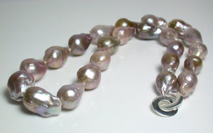 Multi-colour 10-14mm Kasumi-like pearl & silver necklace