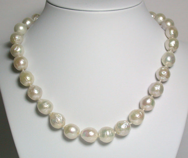 White 10.5-13mm ripple pearl & sterling silver necklace