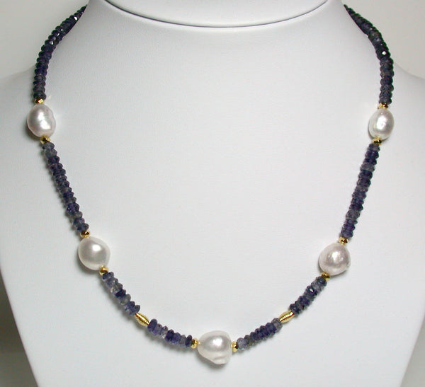 10-12mm South Sea pearl, iolite & vermeil necklace