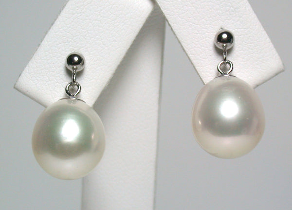 11x12mm white pearl & 9 carat gold drop stud earrings