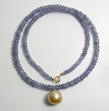 Load image into Gallery viewer, 13.5mm golden South Sea pearl, tanzanite & 9 carat gold necklace