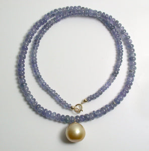13.5mm golden South Sea pearl, tanzanite & 9 carat gold necklace