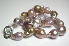 Load image into Gallery viewer, Multi-colour 10-14mm Kasumi-like pearl & silver necklace