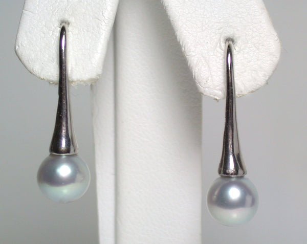 7mm silver Japanese Akoya pearl & sterling silver earrings