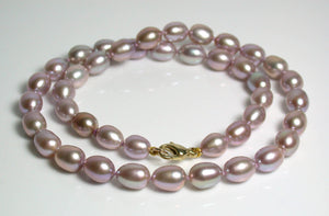 8x10mm lavender pink pearl & 9 carat gold necklace