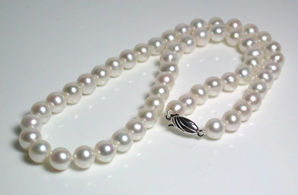 8-8.5mm white pearl & 9 carat white gold necklace