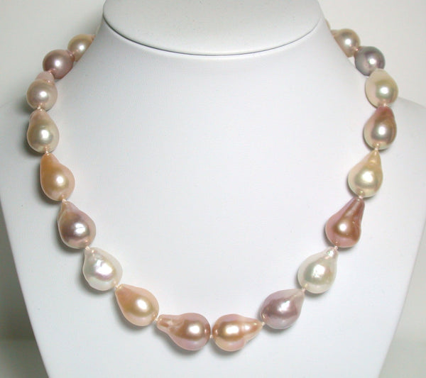 14-20mm fireball freshwater pearl & 18ct gold necklace