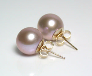 10mm metallic lavender-pink pearl & 9 carat gold earrings