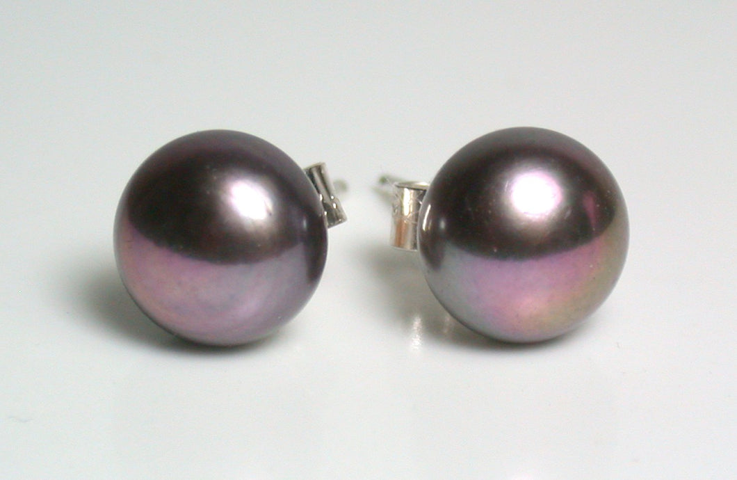 8mm aubergine-black pearl & sterling silver earrings