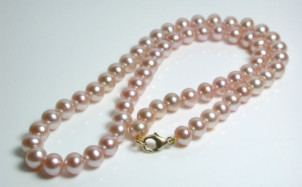 6x7mm metallic pink freshwater pearl & 9 carat gold necklace