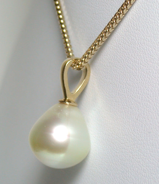 13x14mm champagne South Sea pearl & 9ct gold pendant