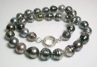 11-13mm grey Tahitian pearl & sterling silver necklace