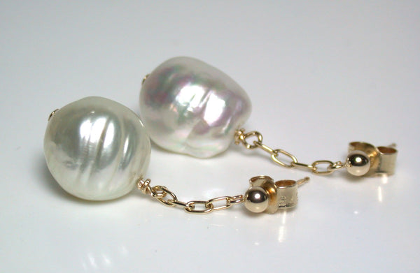 12mm South Sea pearl & 9ct gold earrings
