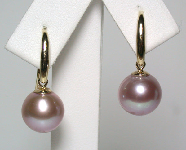 9.7mm metallic lavender pink pearl & 9ct gold earrings