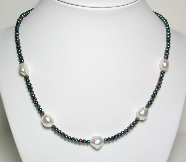 10-12mm South Sea pearl, peacock pearl & sterling silver necklace