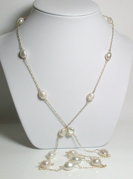 9-11mm South Sea keshi saltwater pearl & gold filled station necklace