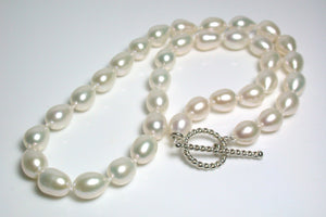 8.5x11mm warm white pearl & sterling silver necklace