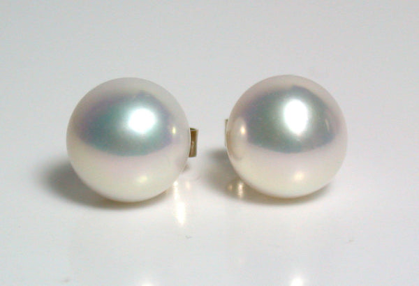 9mm metallic white pearl & 9 carat gold earrings