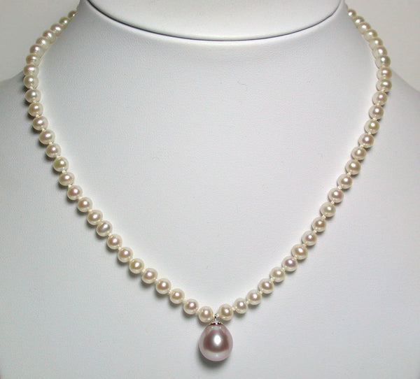 11x12mm pink drop freshwater pearl & 9ct gold pendant necklace