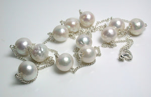 "35"" 11mm white ripple pearl & sterling silver station necklace"