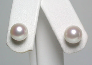 7.5-8mm white Japanese Akoya pearl & 9 carat gold earrings