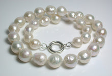Load image into Gallery viewer, White 10.5-13mm ripple pearl & sterling silver necklace