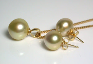 Golden South Sea pearl 18ct gold pendant & earrings