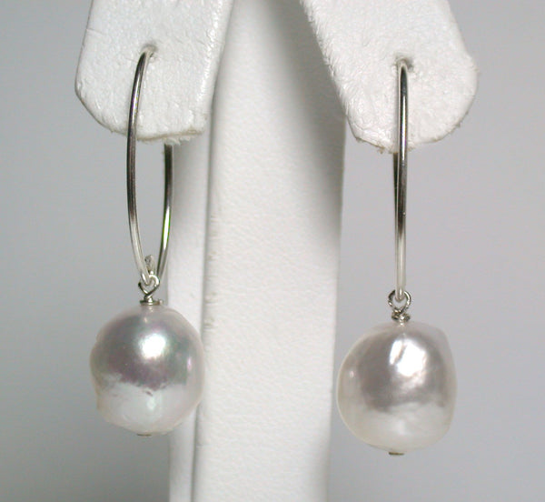 10x12mm South Sea pearl & sterling silver earrings