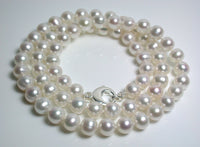 "25"" white 8-8.5mm freshwater pearl & sterling silver necklace"
