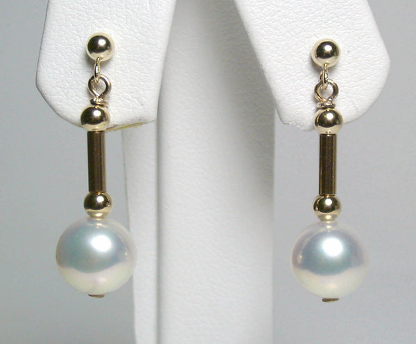 Radiant 8mm white pearl & 9 carat gold earrings