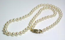 Load image into Gallery viewer, Vintage AAA quality 5-5.5mm Akoya cultured pearl & 9ct gold necklace