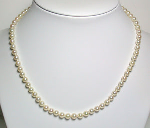 Vintage AAA quality 5-5.5mm Akoya cultured pearl & 9ct gold necklace