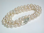 Vintage 5.5mm Akoya cultured pearl necklace & 9ct white gold diamond clasp