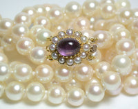 "Vintage double 24"" 6.5-7mm Akoya saltwater pearl, 9ct gold & amethyst necklace"